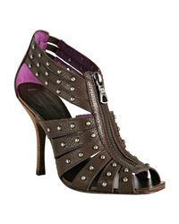 BCBGMAXAZRIA | Brown Chestnut Studded Leather Aceline Zip Sandals | Lyst