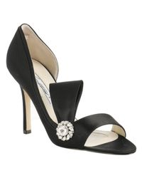 Brian Atwood | Black Satin Dorian Crystal Sandals | Lyst