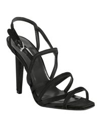 Calvin Klein | Black Satin Nadia Strappy Sandals | Lyst