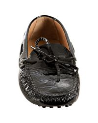 Car Shoe | Black Patent Square Toe Driving Loafers | Lyst