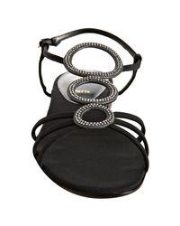Christian Louboutin - Black Crepe Aplarona Flat Sandals - Lyst