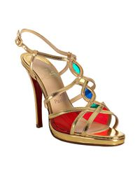 Christian Louboutin | Metallic Gold Leather Libelle Sandals | Lyst