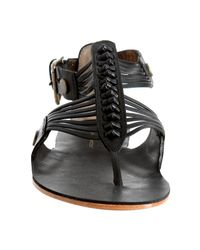 Twelfth Street Cynthia Vincent   Black Leather Odean Thong Sandals   Lyst