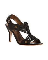 Twelfth Street Cynthia Vincent | Black Strappy Leather Titus Peep Toe Sandals | Lyst