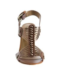 Twelfth Street Cynthia Vincent - Metallic Bronze Strappy Leather Titus Peep Toe Sandals - Lyst