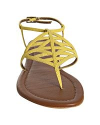 Twelfth Street Cynthia Vincent - Yellow Chartreuse Suede Dalia Thong Flat Sandals - Lyst