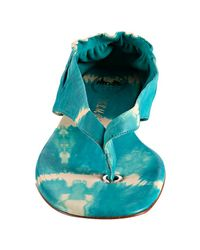 Delman - Blue Aqua Tie-dye Leather Serena Thong Sandals - Lyst