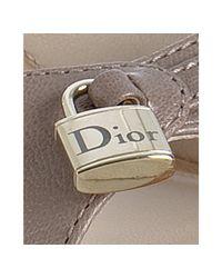 Dior - Natural Beige Calfskin Padlock Clog Sandals - Lyst