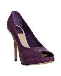 Dior - Purple Wine Snake Embossed Calfskin Miss Peep Toe Pumps - Lyst