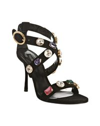 Dolce & Gabbana | Black Suede Jeweled Ankle Strap Sandals | Lyst