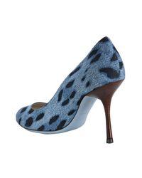 Dolce & Gabbana | Blue Leopard Print Denim Pumps | Lyst