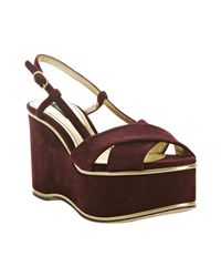Dolce & Gabbana | Purple Bordeaux Suede Platform Wedge Sandals | Lyst