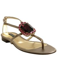 Dolce & Gabbana | Metallic Pewter Leather Jeweled Thong Sandals | Lyst