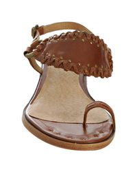Frye - Brown Caramel Whipstitched Leather Avery Toe Ring Sandals - Lyst