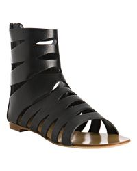 Giuseppe Zanotti | Black Cut-out Leather Gladiator Sandals | Lyst