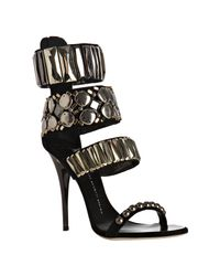 Giuseppe Zanotti | Black Suede Jewel Detail Strappy Zip Sandals | Lyst