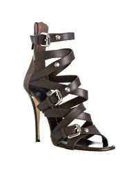 Giuseppe Zanotti | Brown Strappy Leather Buckle Zip Sandals | Lyst