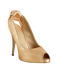 Giuseppe Zanotti | Metallic Copper Leather Knotted Platform Slingbacks | Lyst