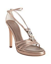 Giuseppe Zanotti | Metallic Rose Gold Leather Jeweled Platform Sandals | Lyst