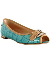 Giuseppe Zanotti | Blue Turquoise Croc Embossed Patent Peep Toe Flats | Lyst