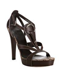 Gucci | Brown Leather Icon Bit T-strap Platform Sandals | Lyst