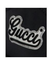Gucci | Black Sateen Logo Script Sneakers | Lyst