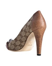 Gucci - Brown Tan and Beige Gg Canvas Kitty Peep Toe Pumps - Lyst
