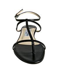 Jimmy Choo - Black Leather Fiona Flat Thong Sandals - Lyst