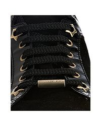 Jimmy Choo - Black Patent Trimmed Suede Miami Sneakers - Lyst