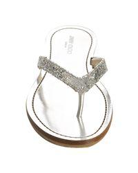 Jimmy Choo | Metallic Silver Glitter Will Thong Sandals | Lyst