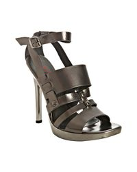 Kors by Michael Kors | Metallic Gunmetal Leather Sage Platform Sandals | Lyst