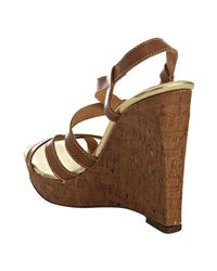 Kors by Michael Kors | Brown Luggage Leather Valley Cork Wedges | Lyst