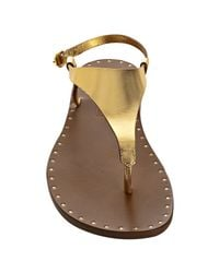 Michael Kors - Metallic Gold Leather Couture Thong Sandals - Lyst
