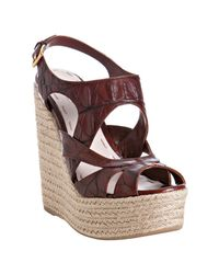 Miu Miu | Brown Cotto Croc Print Leather Platform Espadrilles | Lyst