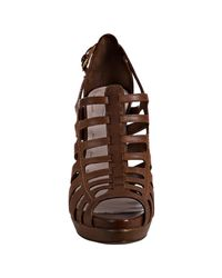 Miu Miu - Brown Coconut Leather Cage Platform Sandals - Lyst