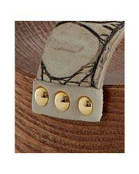 Miu Miu | White Chalk Croc Print Calfskin Platform Sandals | Lyst