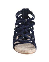 Miu Miu - Blue Navy Strappy Suede Flat Sandals - Lyst