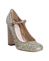 Miu Miu | Metallic Camel Patent Glitter Mary-jane Pumps | Lyst