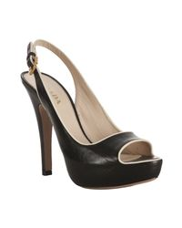 Prada - Black Piped Leather Peep Toe Platform Slingbacks - Lyst