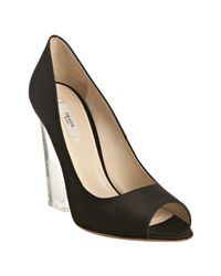 Prada | Black Satin Peep Toe Lucite Heel Pumps | Lyst