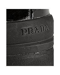 Prada - Black Textured Patent Tall Falt Boots - Lyst