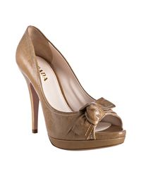 Prada - Natural Camel Leather Peep Toe Bow Platform Pumps - Lyst