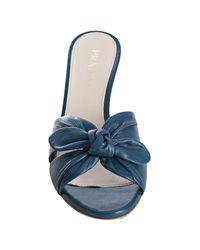 Prada - Blue Denim Knotted Leather Slide Sandals - Lyst