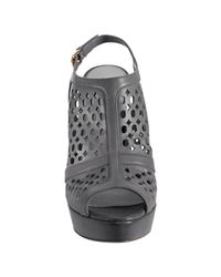 Prada | Gray Grey Cut-out Calfskin Peep Toe Slingbacks | Lyst