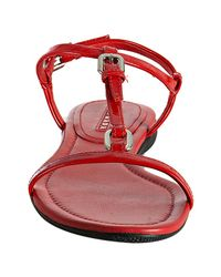 Prada | Sport Red Patent Leather T-strap Sandals | Lyst
