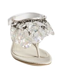 Prada | Metallic Silver and Clear Pvc Jeweled Thong Sandals | Lyst
