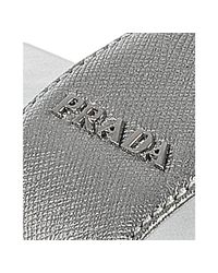 Prada - Metallic Sport Silver Saffiano Leather Slide Sandals - Lyst