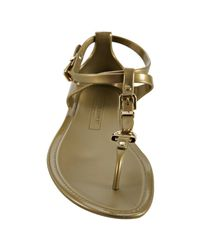 Ralph Lauren Collection - Metallic Gold Karly Jelly Thong Sandals - Lyst