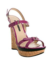 Rock & Republic | Purple Violet Patent Marlow Wedge Sandals | Lyst