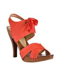 Stella McCartney | Orange Tangerine Faille Tie Detail Sandals | Lyst